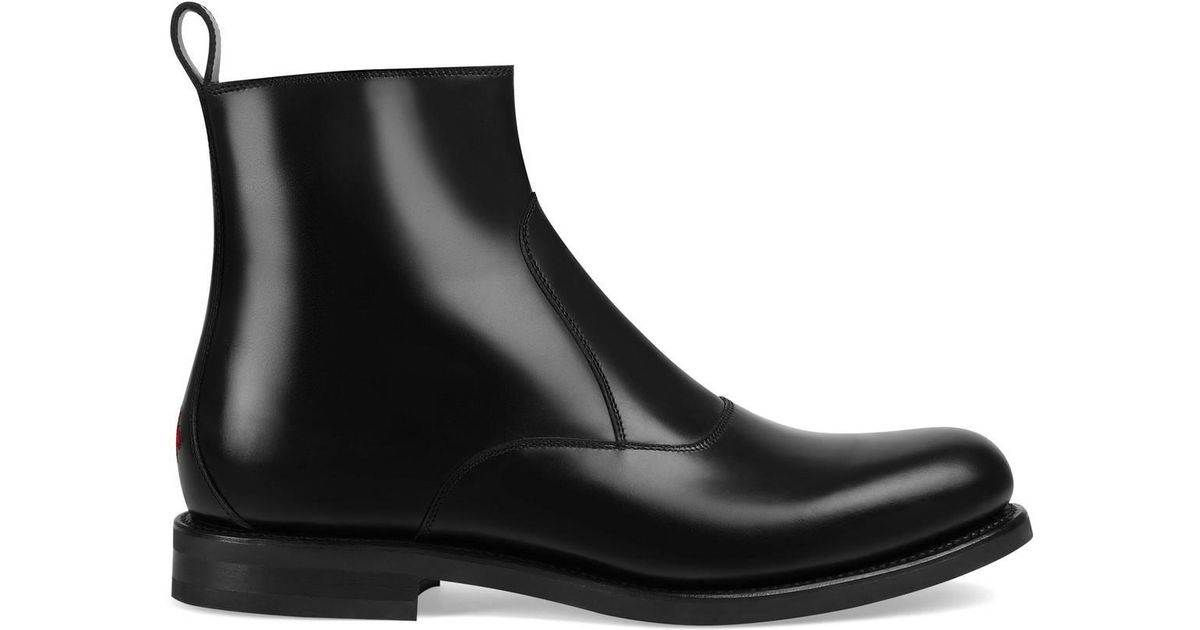 44f325c2d96 Lyst - Gucci Leather Boot in Black for Men