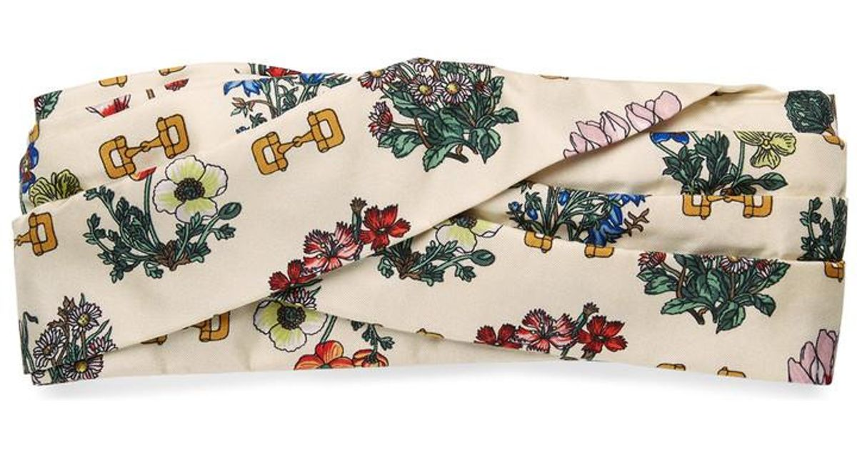 4394484d724 Lyst - Gucci Headband With Flowers And Stirrups Print in White