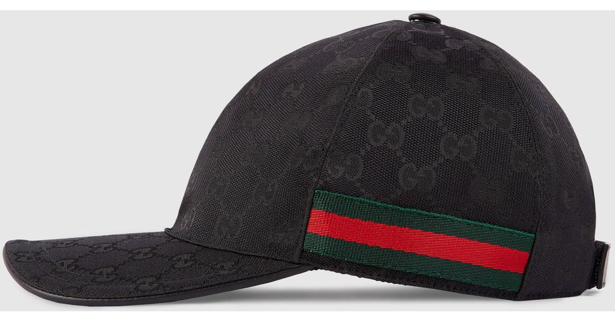 Lyst - Gucci Original Gg Canvas Baseball Hat With Web in Black for Men fe2f3c5f105