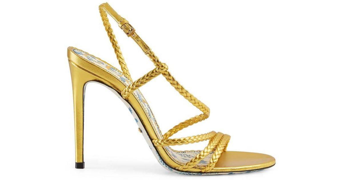 c49e2e85d4ee Lyst - Gucci Braided Metallic Leather Sandal in Metallic