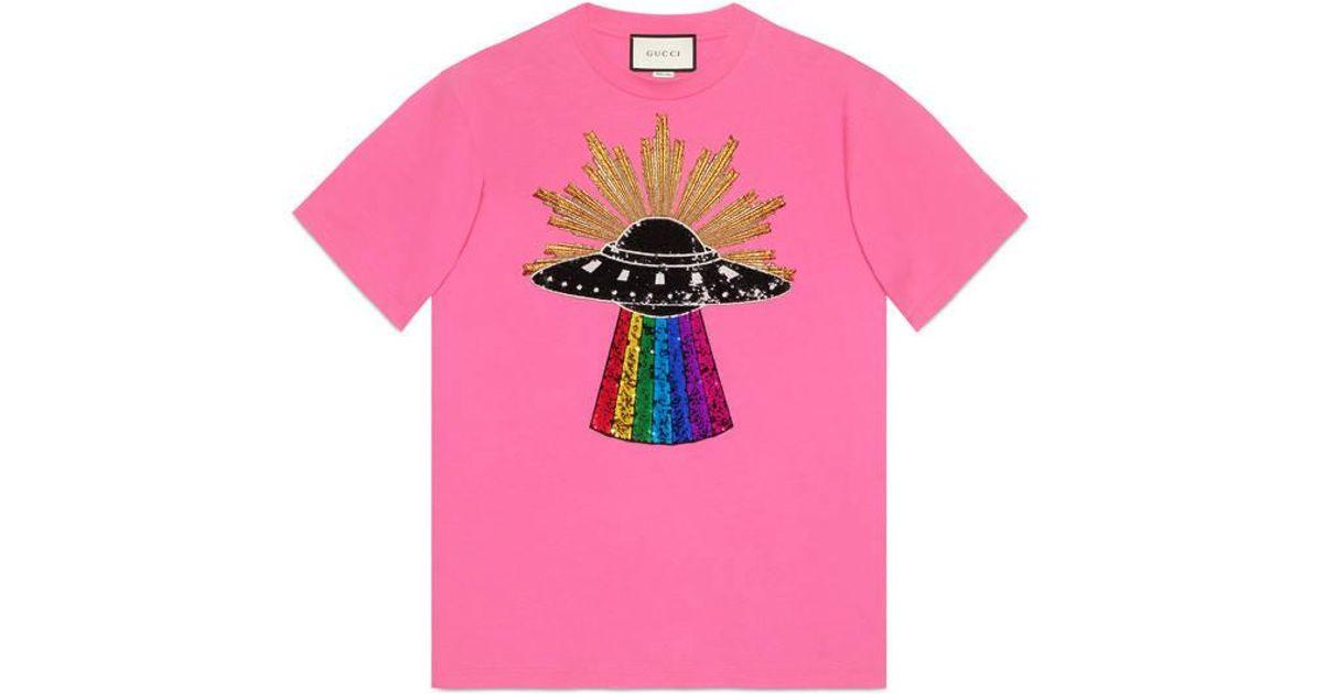 25149e5e4 Gucci Sequin Ufo Cotton T-shirt in Pink - Lyst