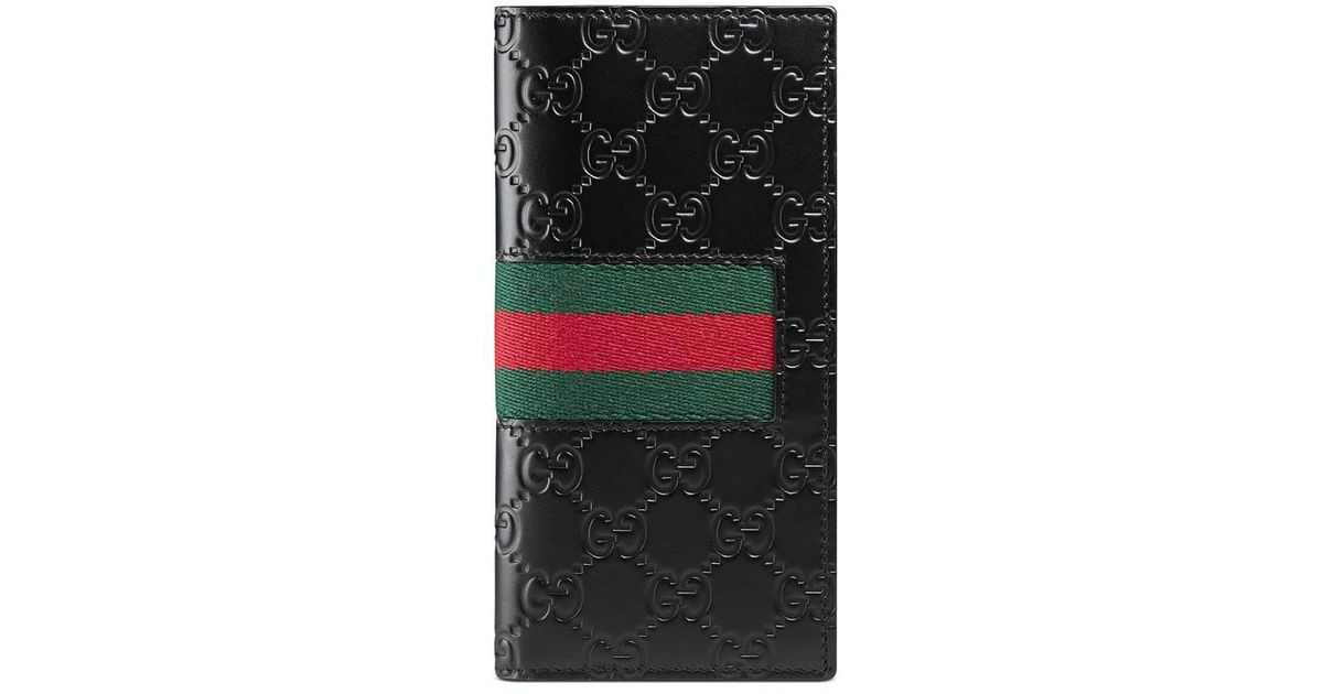 d4cea988f356 Lyst - Gucci Signature Web Long Wallet in Black
