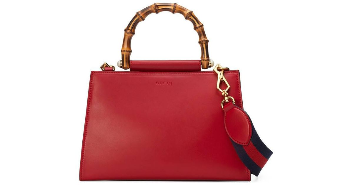 395ddd410b7 Lyst - Gucci Nymphaea Leather Top Handle Bag in Red