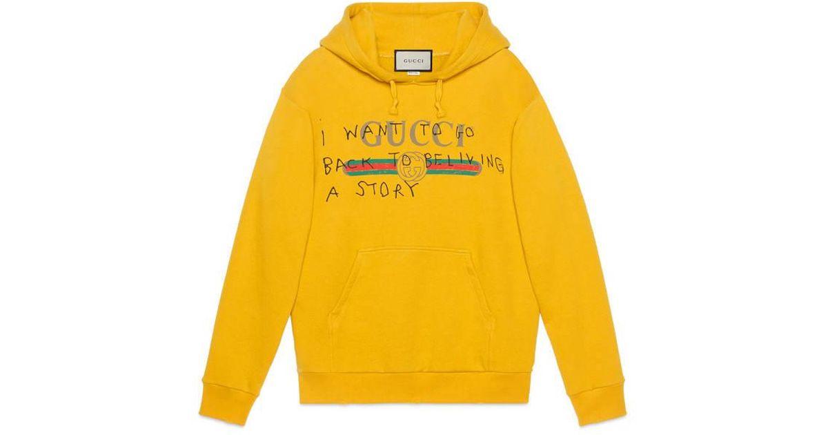 1ceb9075 Gucci Coco Capitán Logo Cotton Sweatshirt in Yellow - Lyst