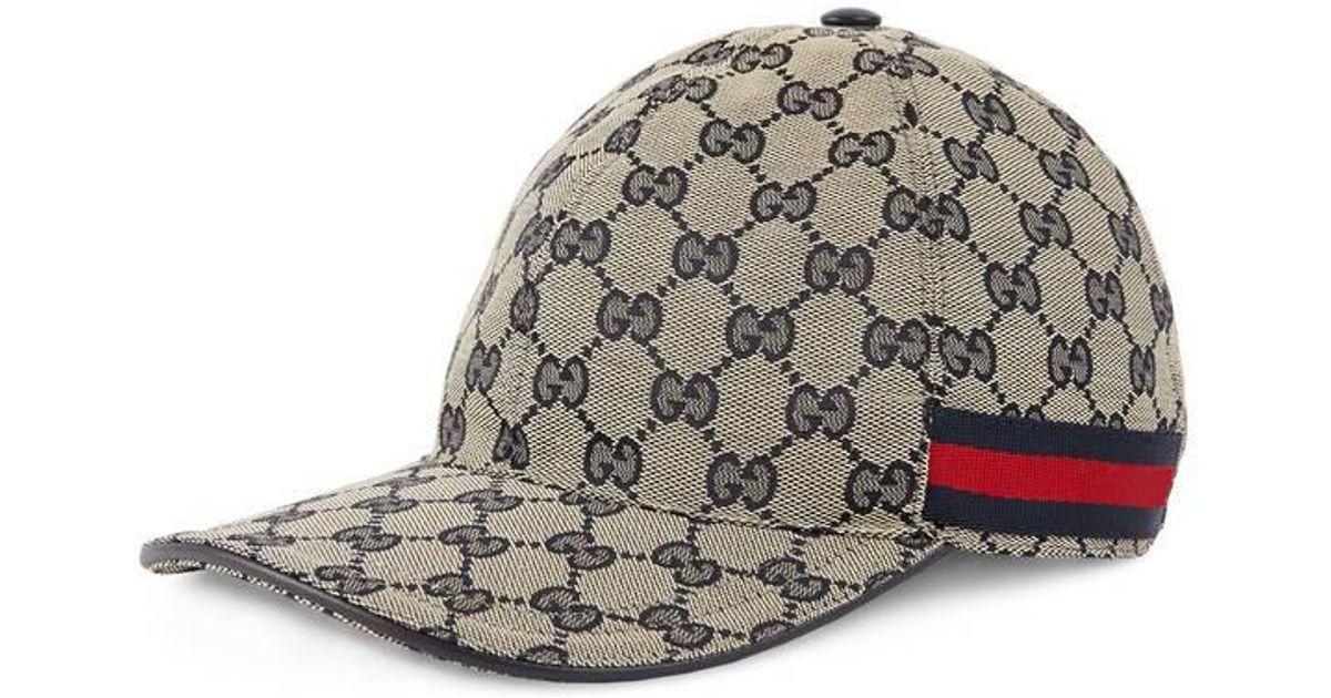 Lyst - Casquette en toile GG originale avec bande Web Gucci pour homme 8b1ec3dfdf6