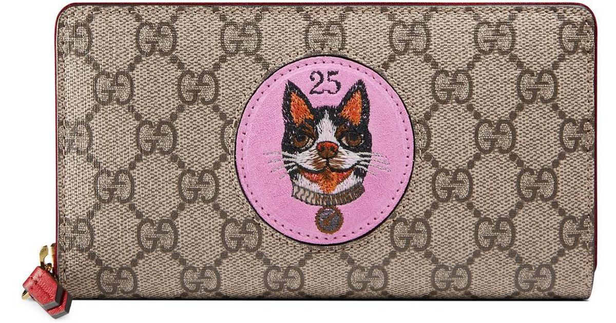 52f919eb2153 Lyst - Gucci GG Supreme Zip Around Wallet With Bosco Patch in Pink