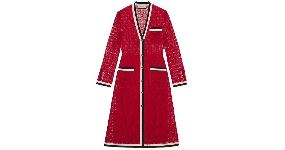 e3bd9864e Gucci GG Macram   Long Sleeve Dress in Red - Lyst