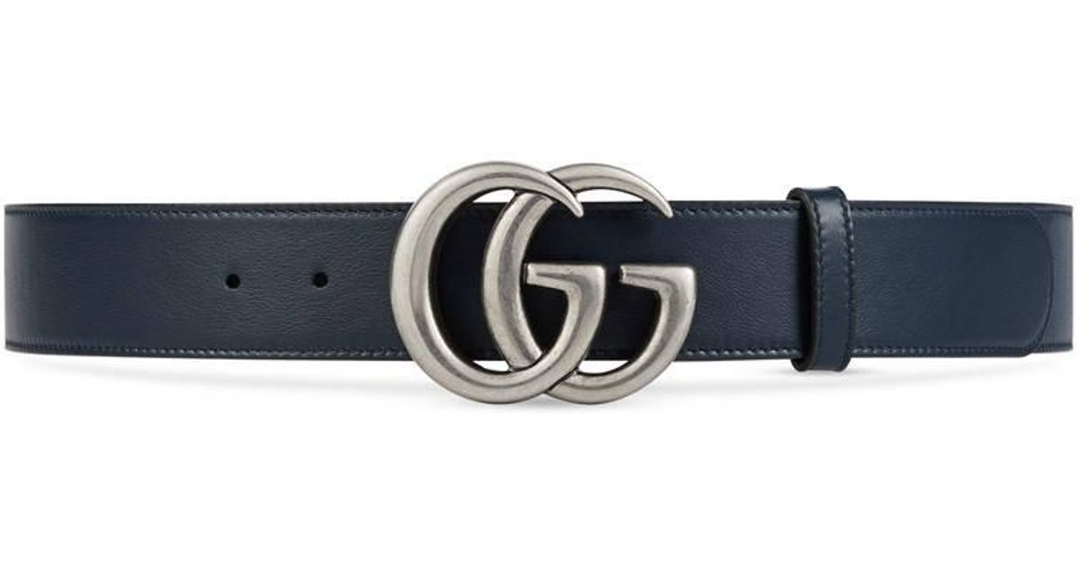 gucci leather belt with double g buckle in blue lyst. Black Bedroom Furniture Sets. Home Design Ideas