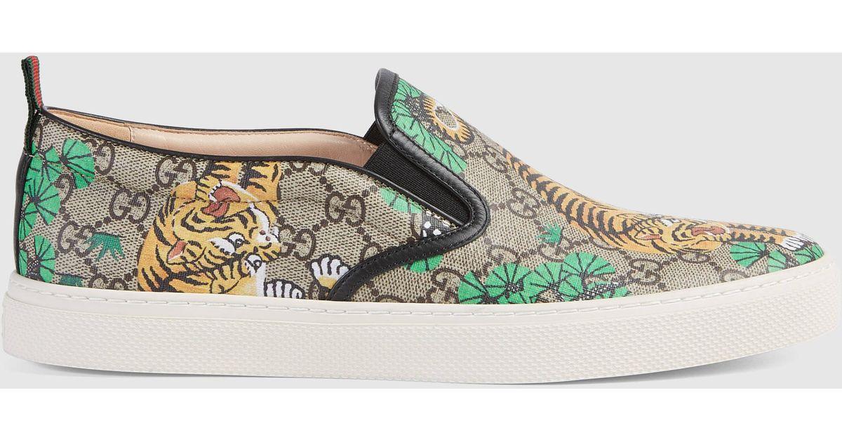 Lyst - Gucci Bengal Slip-on Sneaker in Brown 218b647281503