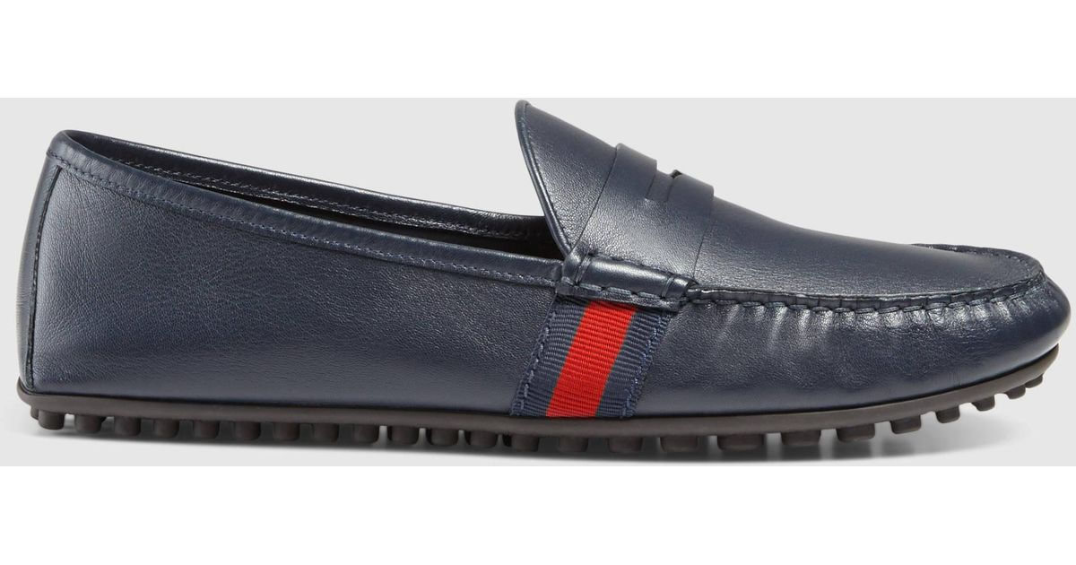 585e18d3dae Lyst - Gucci Leather Driver With Web in Blue for Men