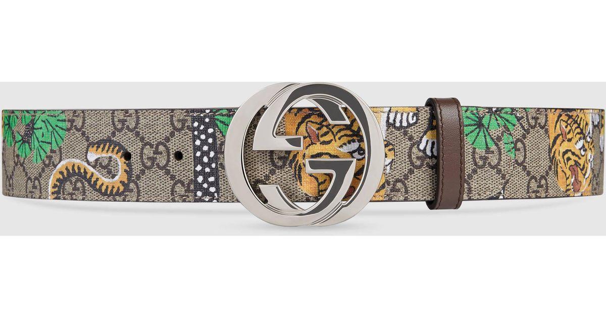 d295375d19c Lyst - Gucci Bengal Gg Supreme Belt in Metallic for Men
