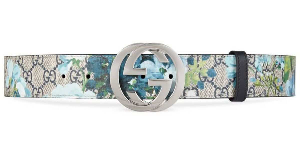 e7e86191b2f Lyst - Gucci Gg Blooms Belt With G Buckle in Blue for Men