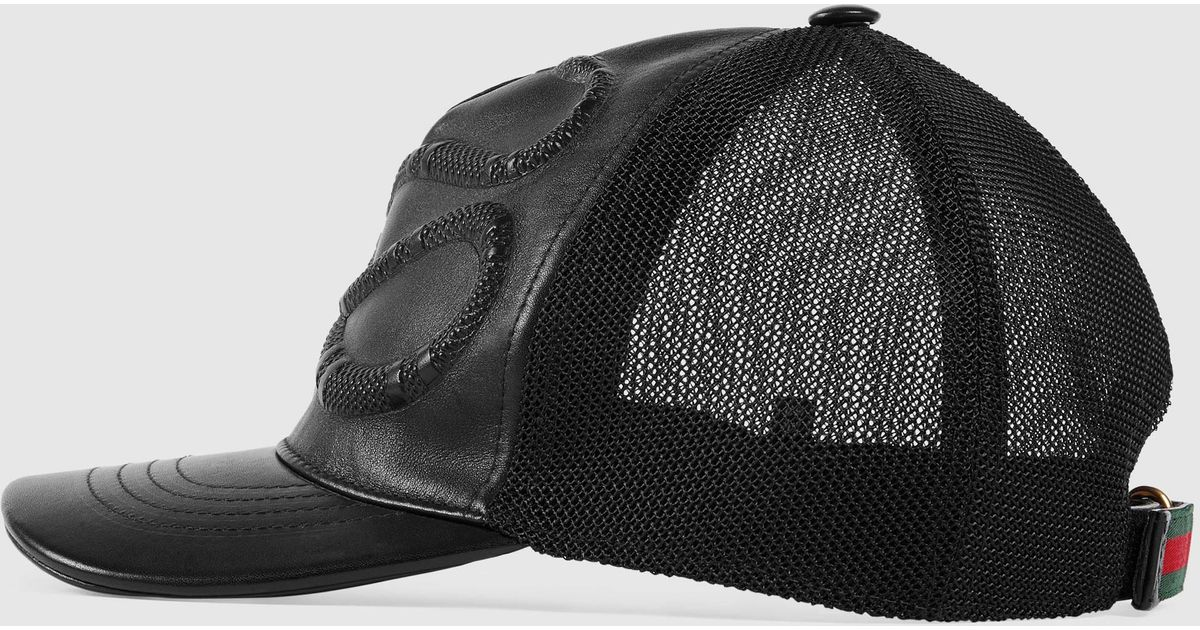 6f13041e9a1c Lyst - Gucci Snake Embossed Leather Baseball Hat for Men