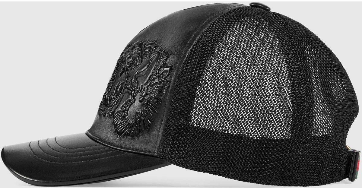 006cdd0b27551 Gucci Tigers Embossed Leather Baseball Hat for Men - Lyst