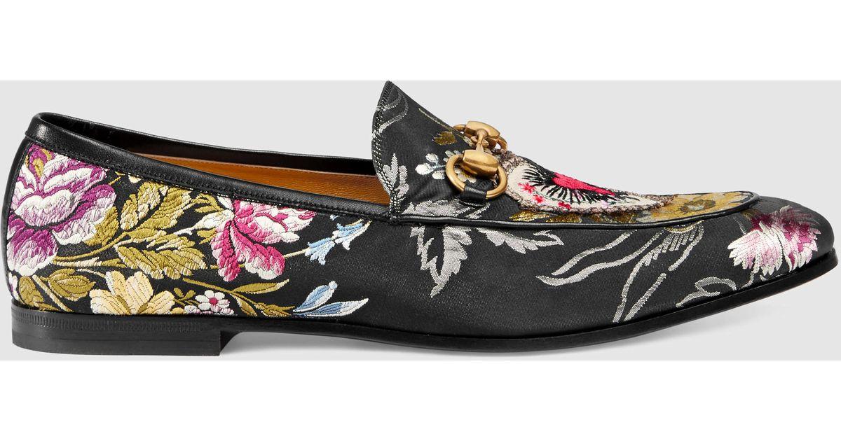Lyst - Gucci Jordaan Floral Jacquard Loafer in Black for Men 2293d121d