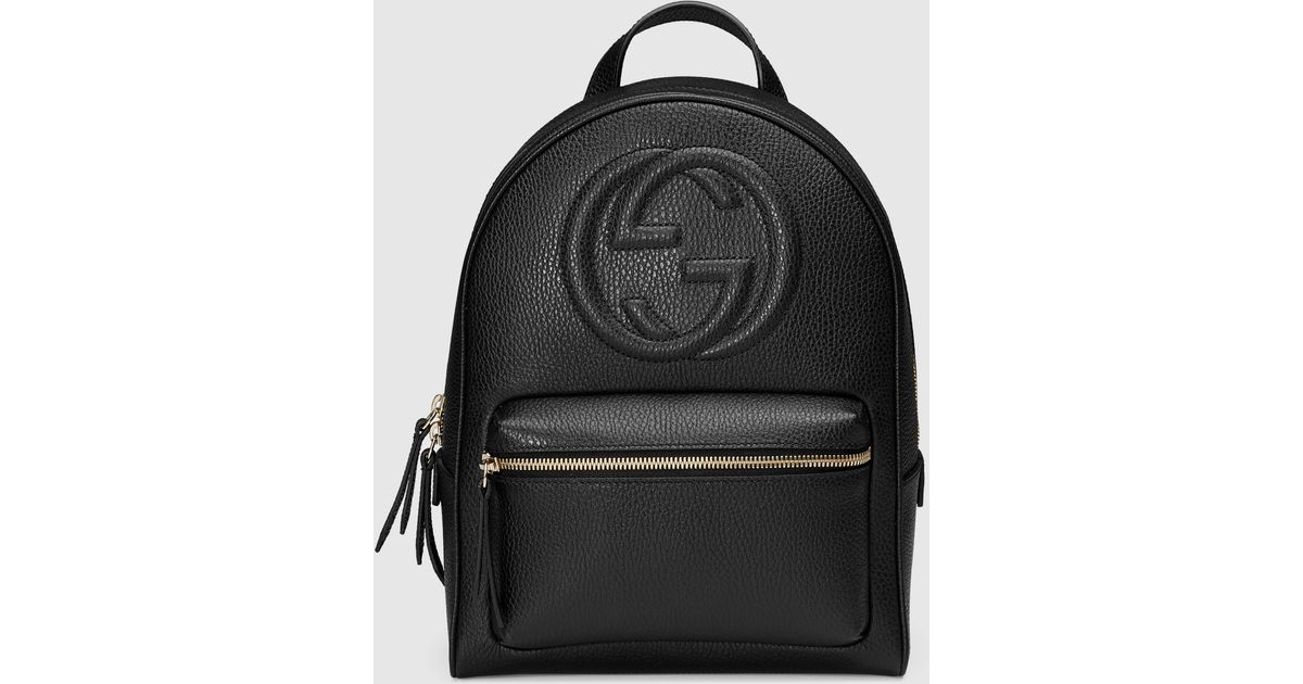 Lyst - Gucci Soho Leather Chain Backpack in Black d686222a9f81d