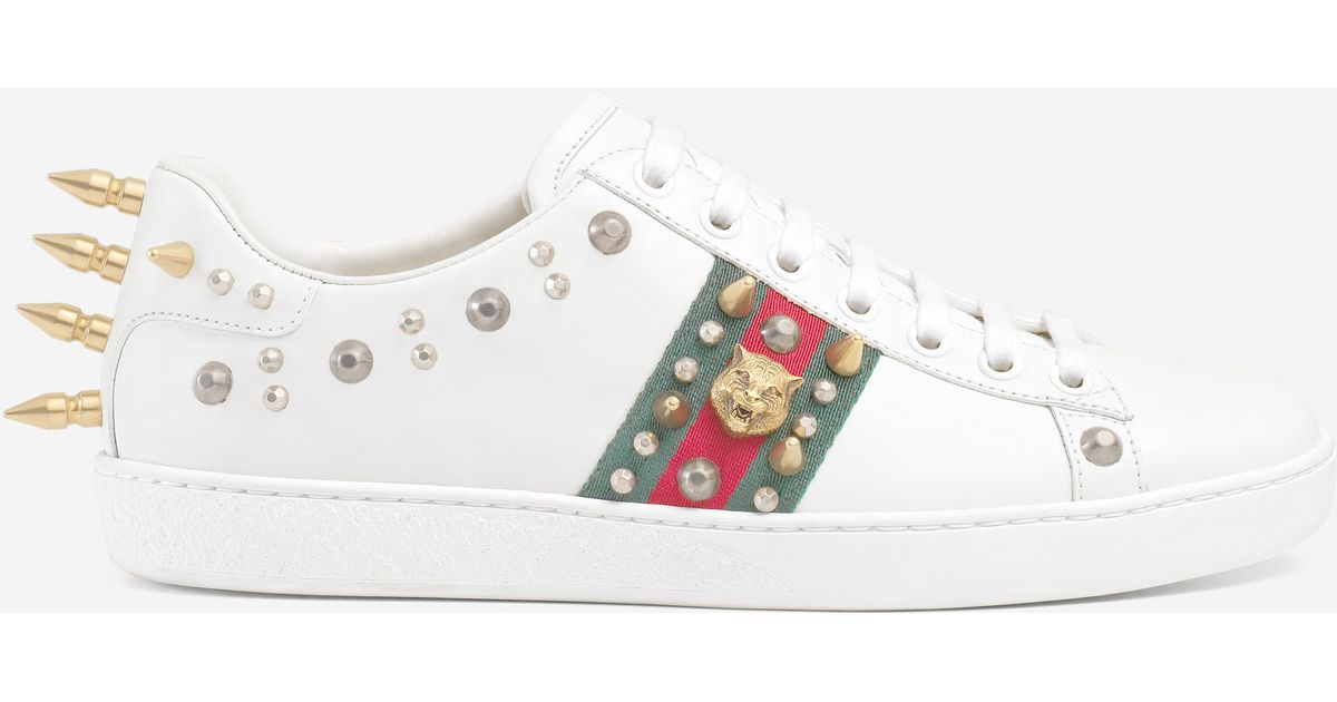 20e76bdad2c Lyst - Gucci Ace Studded Leather Low-top Sneaker