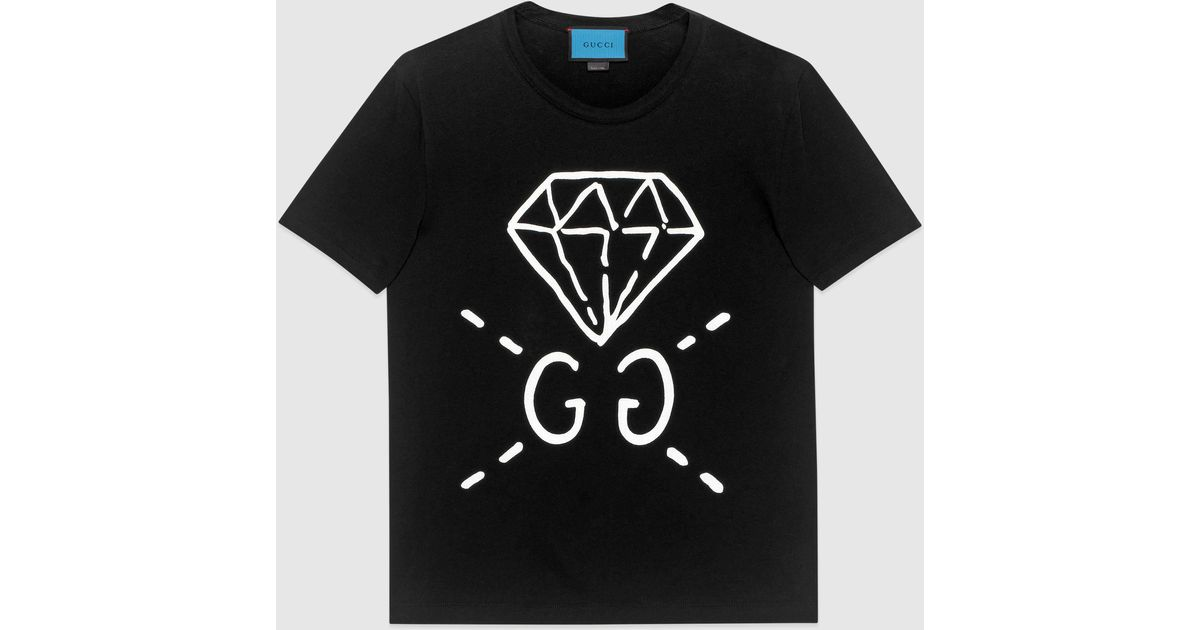 80842e5d935d Gucci Ghost Cotton T-Shirt in Black for Men - Lyst