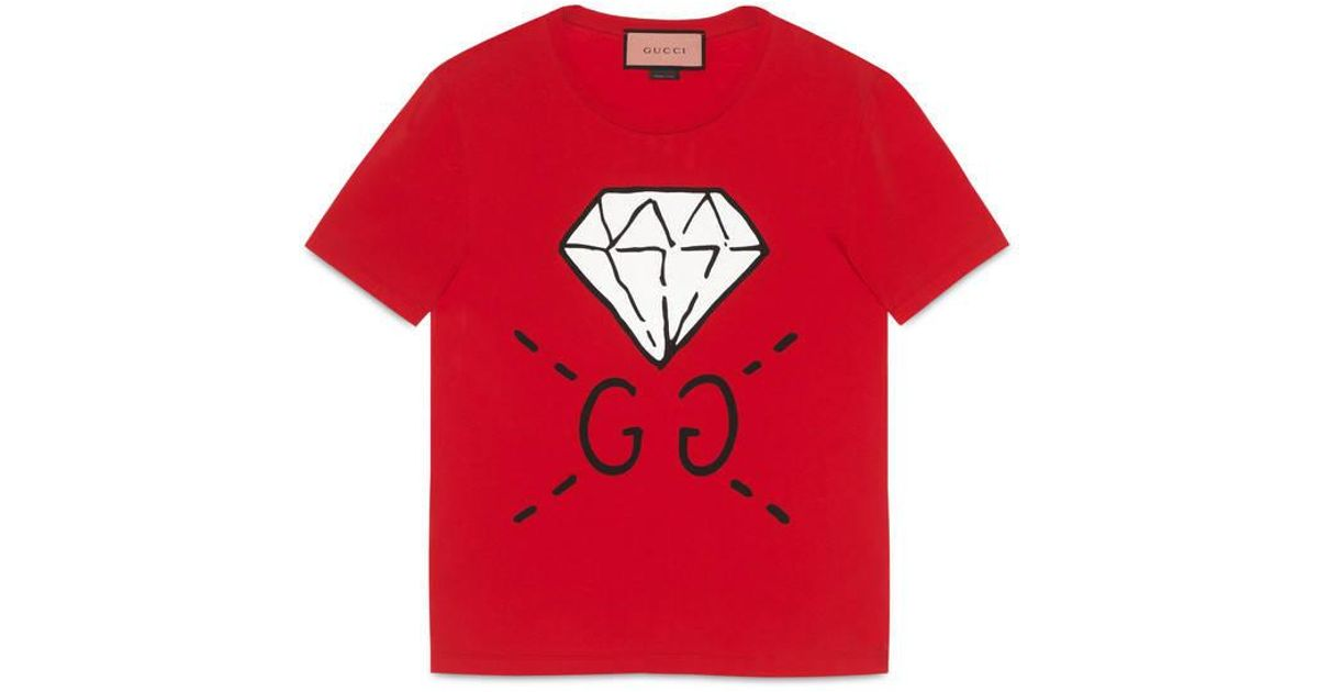 gucci ghost gg diamond t shirt in red for men lyst. Black Bedroom Furniture Sets. Home Design Ideas