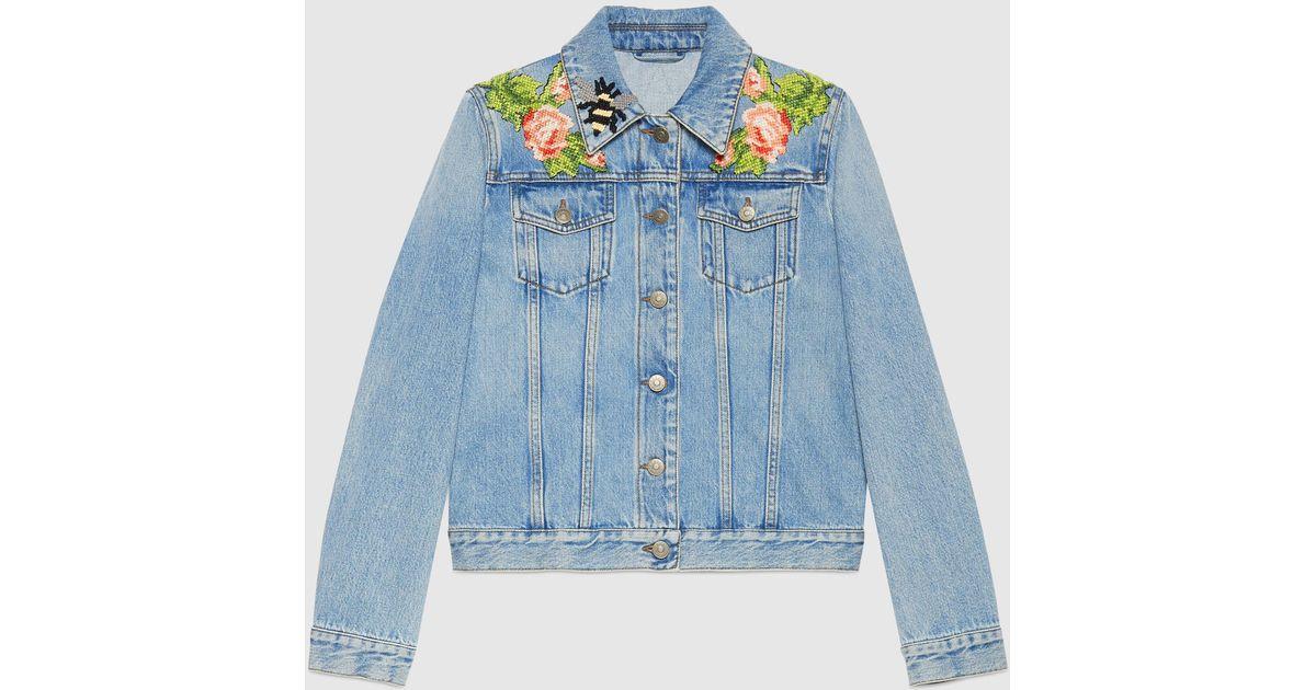 Gucci - Embroidered denim jacket - mytheresa.com
