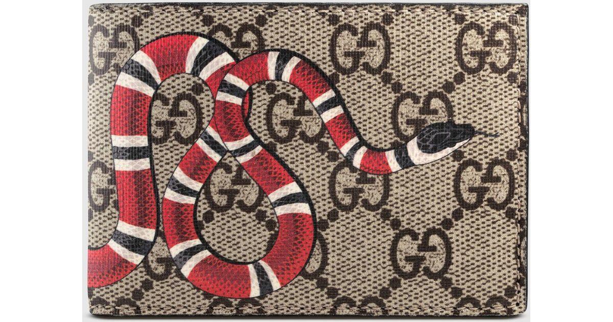 78efc4671030 Lyst - Gucci Snake Print Gg Supreme Wallet for Men