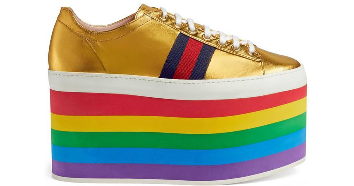 01a3b880935 Gucci Peggy Rainbow Platform Leather Sneakers - Lyst