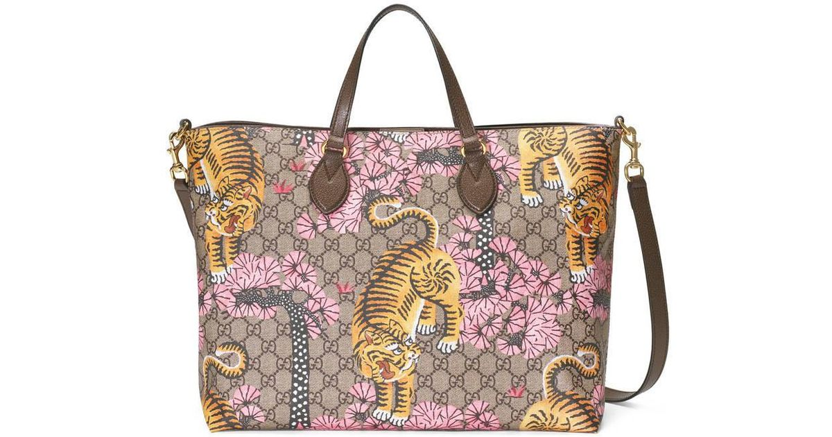 d1793f4fd449 Lyst - Gucci Bengal Soft Gg Tote in Natural