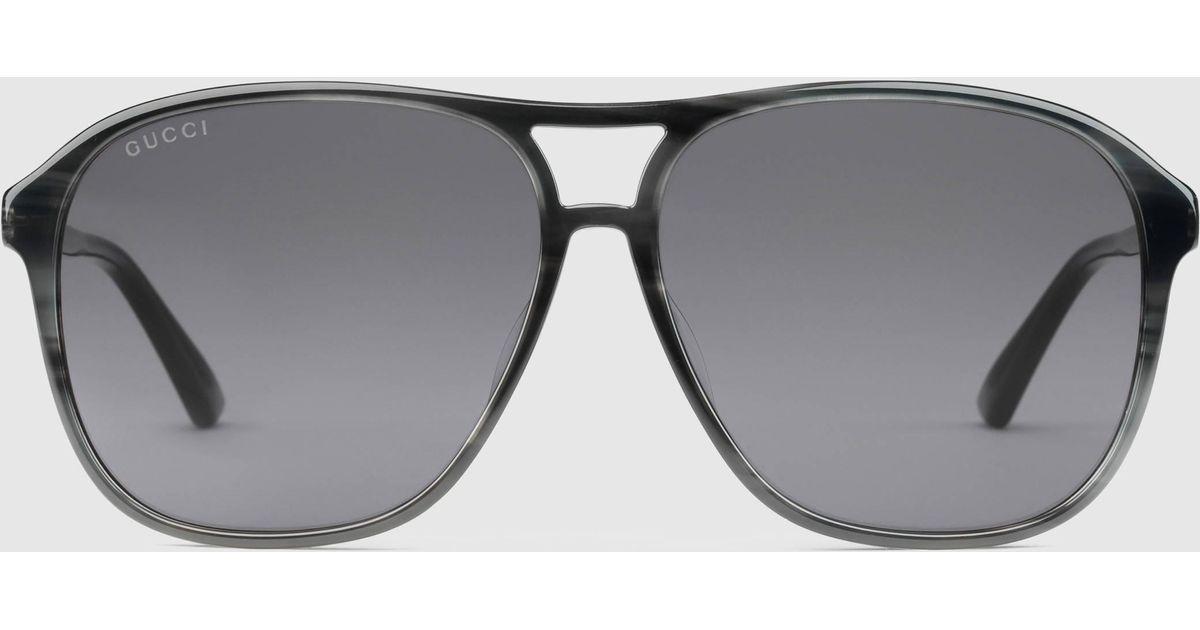 c54f9c5b4e8 Lyst - Gucci Specialized Fit Aviator Acetate Sunglasses in Gray for Men