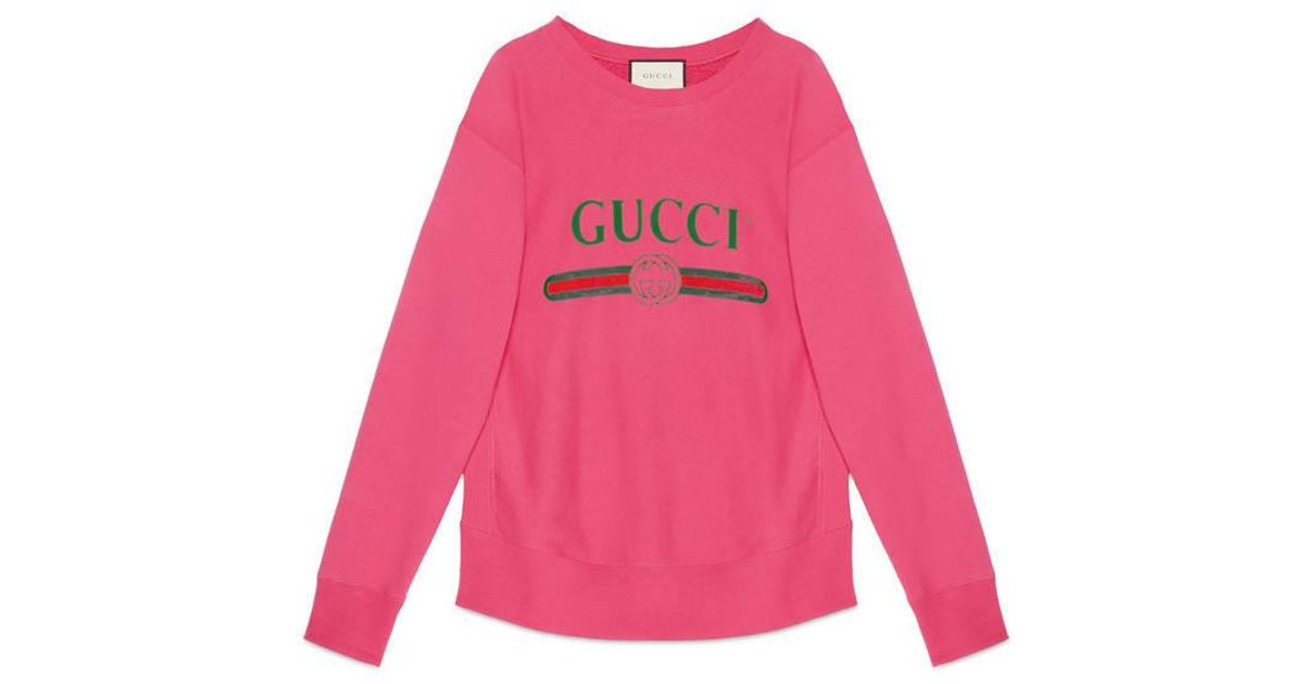Gucci Cotton Sweatshirt With Print in Pink | Lyst