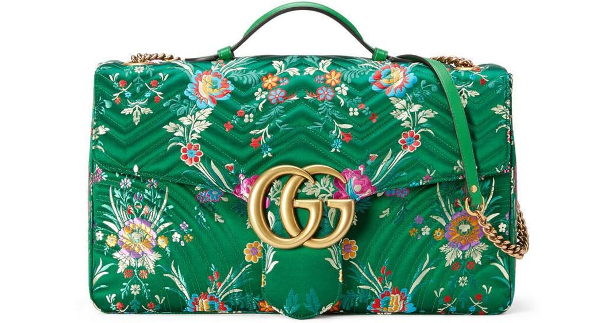 1806cee8c9635d Gucci Gg Marmont Maxi Quilted Floral-jacquard Shoulder Bag in Green - Lyst