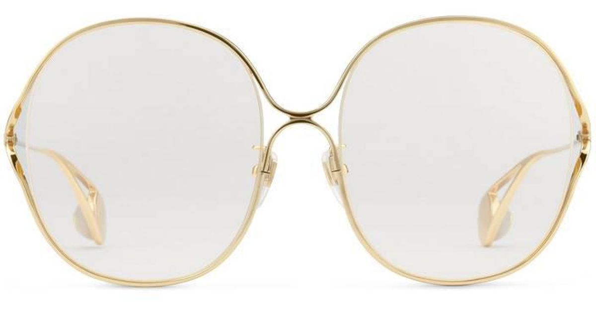 1ef57391c9e Gucci Round-frame Metal Glasses in Metallic - Lyst