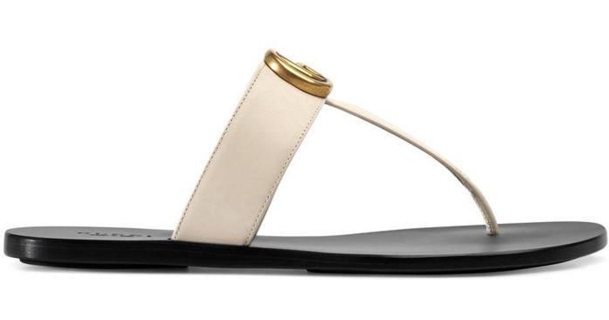 32121feaf Gucci Flip Flops A3n00 Calfskin Logo White in White - Save 21% - Lyst