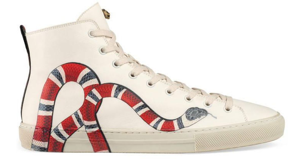 61b60f29c Gucci Leather High-top With Kingsnake in Pink for Men - Lyst