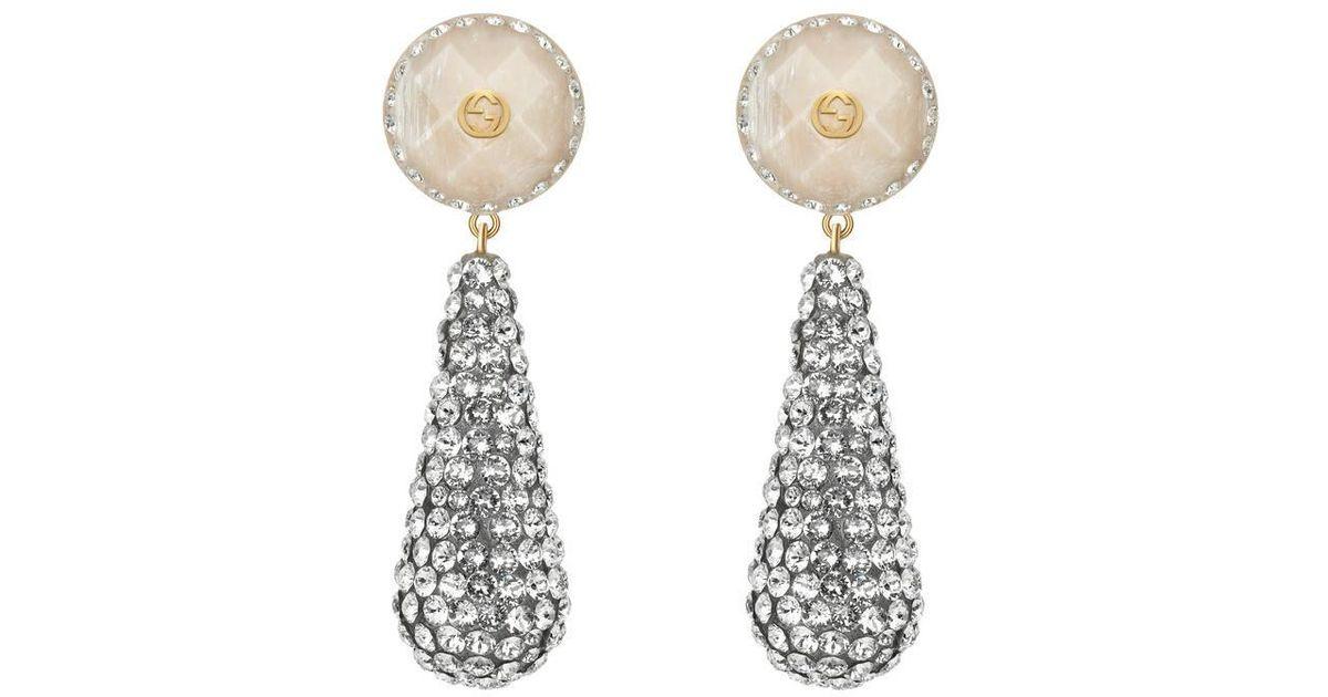 Gucci Crystal studded drop pendant earrings hu39AJ4IQ