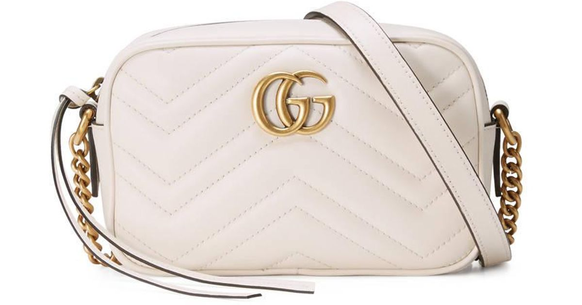 19fcdd6d348 Gucci GG Marmont Small Shoulder Bag in White - Save 28% - Lyst