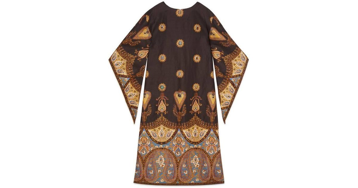 a75ba7155 Gucci - Canvas Kaftan With Paisley Print in Purple - Lyst