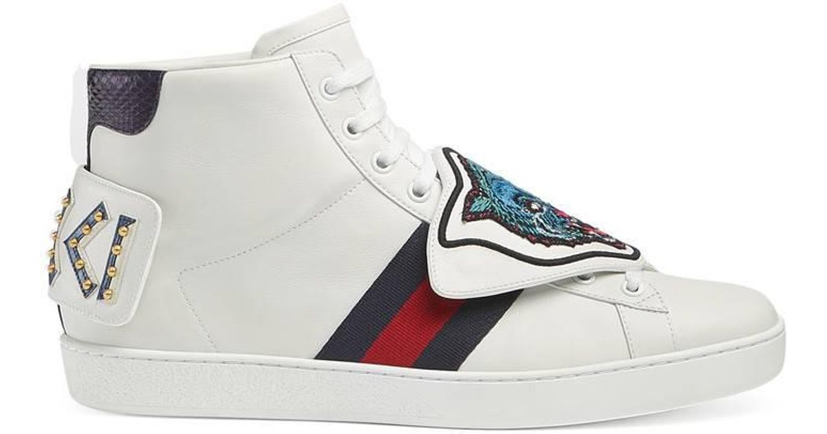 ed0870160d8 Lyst - Gucci Ace High-top With Removable Patches in White for Men