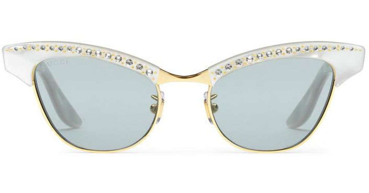 550427f5cd2d3 Gucci Optyl And Metal Sunglasses in White - Lyst
