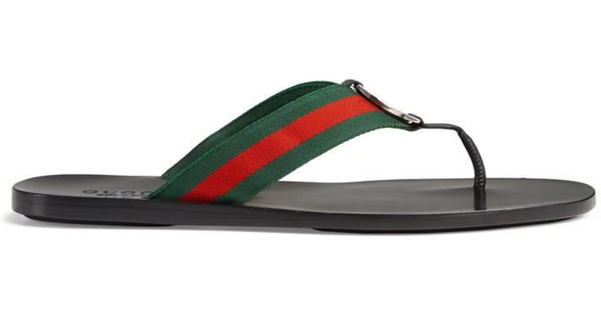 3b849c8c45fd9e Gucci Web Strap Thong Sandal in Green for Men - Lyst