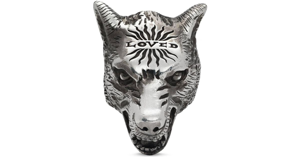 1cc8dc891 Lyst - Gucci Anger Forest Wolf Head Ring In Silver in Metallic for Men -  Save 4%