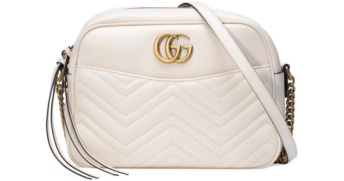 1288254018b93f Gucci Gg Marmont Matelassé Shoulder Bag in White - Lyst