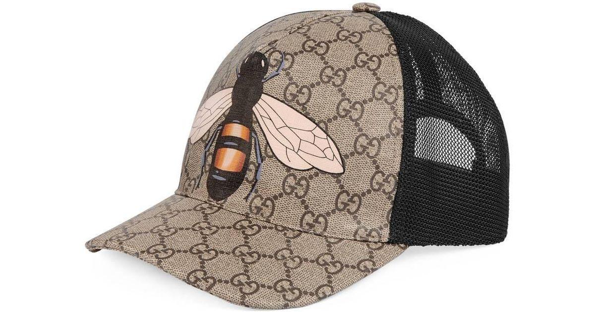 7fbc635be0b17 Lyst - Gucci Bee Print GG Supreme Baseball Hat