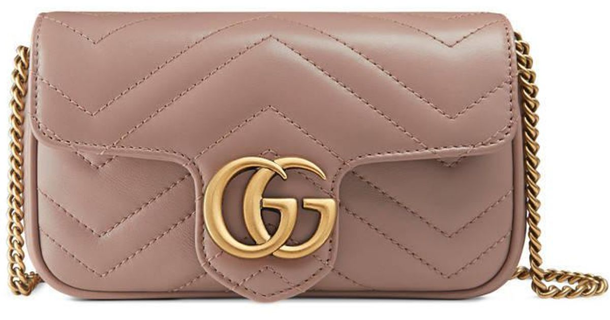 3cc9817919b7 Gucci GG Marmont Matelassé Leather Super Mini Bag in Natural - Lyst