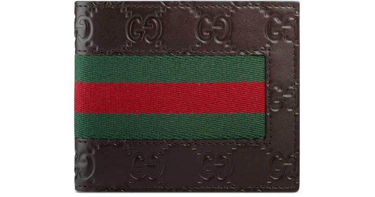 e2fc142f669 Lyst - Gucci Signature Web Wallet in Brown for Men