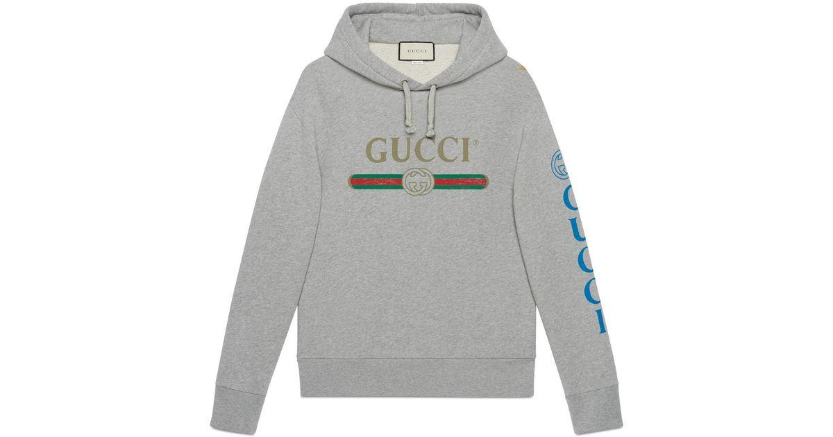6bf11cae Lyst - Gucci Logo Sweatshirt With Dragon in Gray for Men