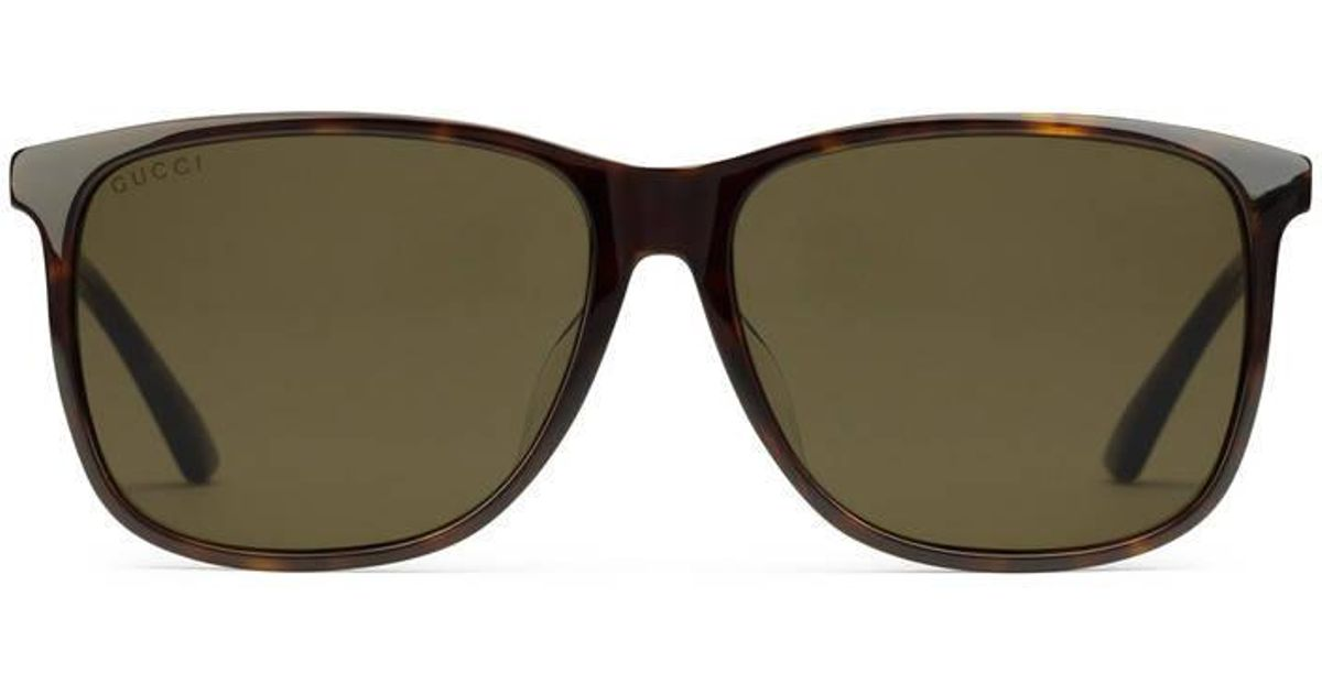172053cc64 Lyst - Gucci Specialized Fit Rectangular-frame Acetate Sunglasses in Brown