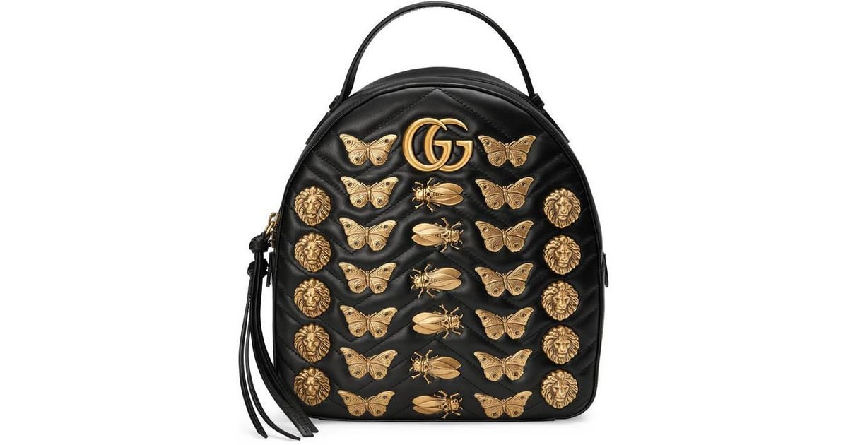 a2eb812ae9fe Gucci Gg Marmont Animals Studs Leather Backpack in Black - Lyst