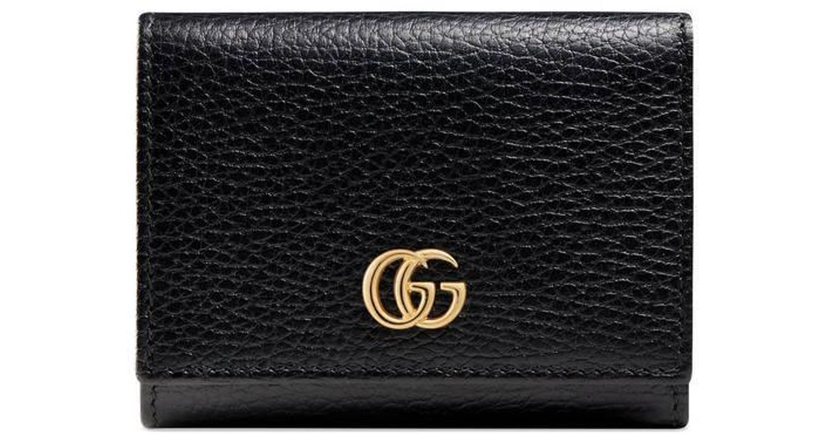 d22d3032e Gucci Gg Marmont Leather Wallet in Black - Lyst