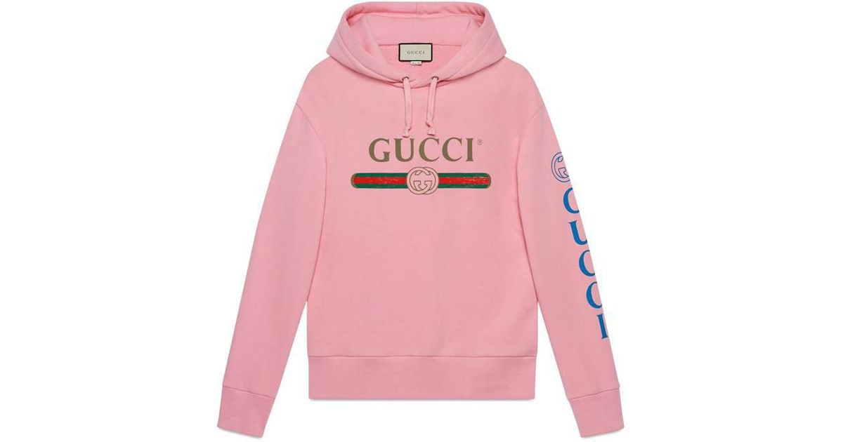 87efa997d4e5 Gucci Logo Sweatshirt With Dragon in Pink for Men - Lyst