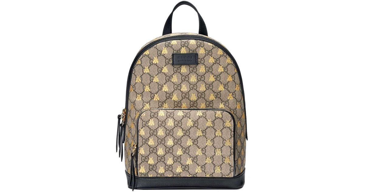 330ff90da6c3 Gucci GG Supreme Bees Backpack in Natural - Lyst